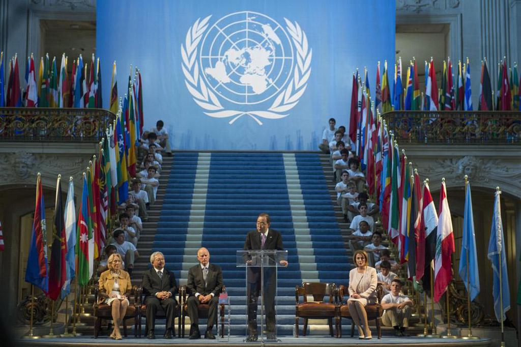 Secretário-geral da ONU, Ban Ki-moon, durante cerimônia comemorativa do 70º aniversário da adoção da Carta das Nações Unidas em San Francisco, nos EUA. Foto: ONU/Mark Garten
